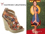 Dania Ramirez' Chinese Laundry Milk Shake High Wedge Espadrilles