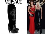 Donatella Versace's Versace Crystal-Embellished Velvet And Leather Knee Boots