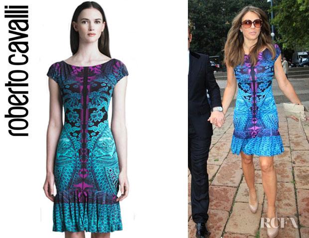 Elizabeth Hurley's Roberto Cavalli Dragon Print Ruffle Hem Dress