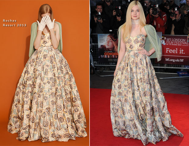 Elle Fanning In Rochas - 'Ginger and Rosa' London Film Festival Premiere