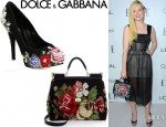 Elle Fanning's Dolce & Gabbana Suede Floral Embroidered Pumps And Dolce & Gabbana Miss Sicily Wool Tapestry Tote