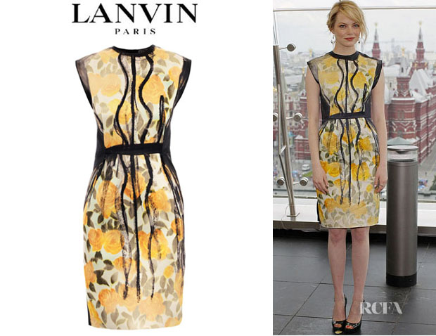 Emma Stone's Lanvin Painted Floral Print Dress