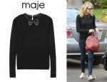 Emma Stone's Maje Pamplune Leather Trimmed Wool Sweater