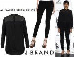 Freida Pinto's All Saints Joelle Shirt And J Brand 811 Mid-Rise Skinny Jeans