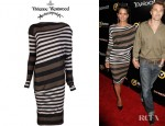 Halle Berry's Vivienne Westwood Anglomania Toga Striped Jersey Dress