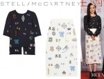 Huo Siyan's Stella McCartney Monogram Embroidered Cady Top And Stella McCartney Carroll Monogram Embroidered Midi Skirt