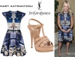 Jane Krakowski's Mary Katrantzou Babelona Darko Dress And YSL Tribute Sandals