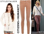 January Jones' Citizens of Humanity Avedon Low Rise Velvet Skinny Jeans And Style Stalker Macaroon Knit