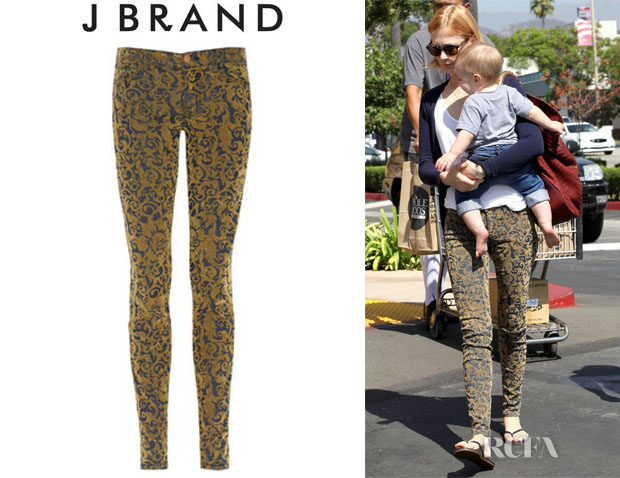 January Jones' J Brand Brocade Flocked Low Rise Skinny Jeans
