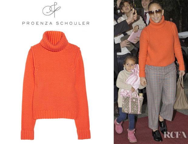 Jennifer Lopez' Proenza Schouler Chunky Knit Cashmere Turtleneck Sweater1