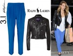 Jessica Alba's Ralph Lauren Leather Davidson Jacket And 3.1 Phillip Lim Silk Crepe De Chine Pants
