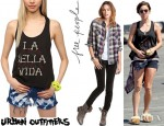 Jessica Stroup's Urban Outfitters La Bella Vida Trapeze Tank Top And Free People Chambray Trim Plaid Shirt