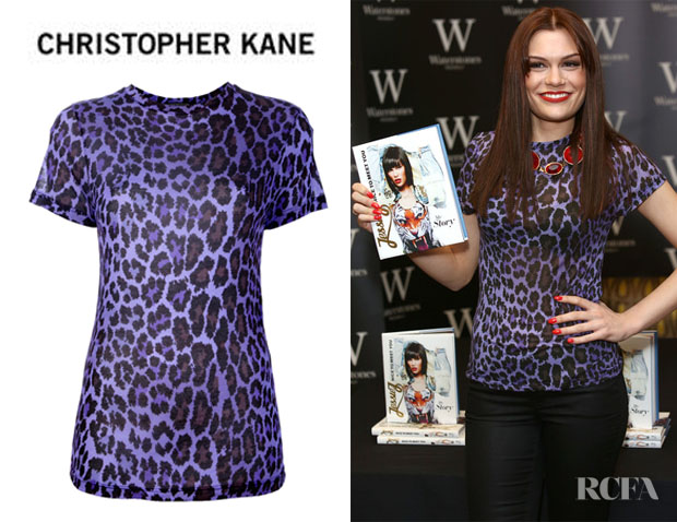 Jessie J's Christopher Kane Leopard Print Modal Jersey T-shirt