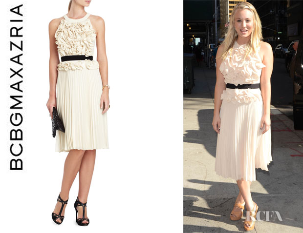 Who Kaley Cuoco Wearing A Bcbg Max Azria Pleated Dress