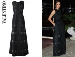 Kasia Smutniak's Valentino Embroidered Silk Twill Gown