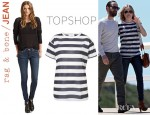 Kate Bosworth's J.W. Anderson for Topshop Stripe Print T-Shirt And Rag & Bone/JEAN Skinny Jeans