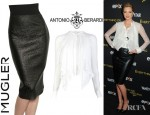 Kate Upton's Antonio Berardi Sleeved Blouse And Mugler Waxed Stretch Wool Skirt