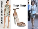 Katharine McPhee's ERIN by Erin Fetherston Sequined Dress And Miu Miu Crystal Heel Platform Sandals