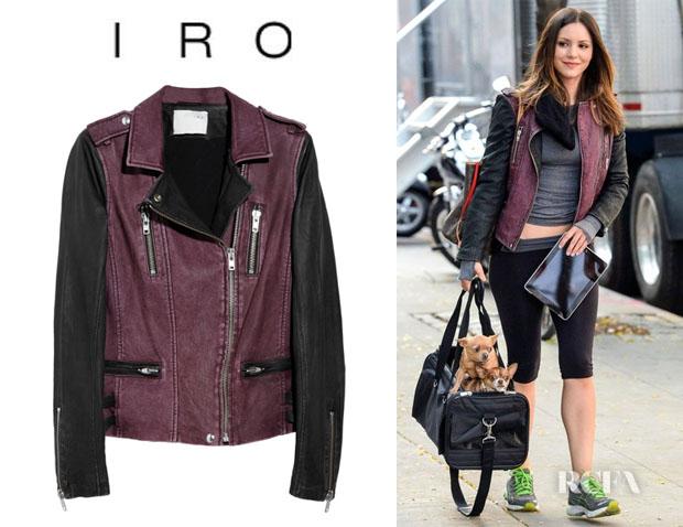 Katharine McPhee's IRO Anabela Asymmetric Leather Biker Jacket