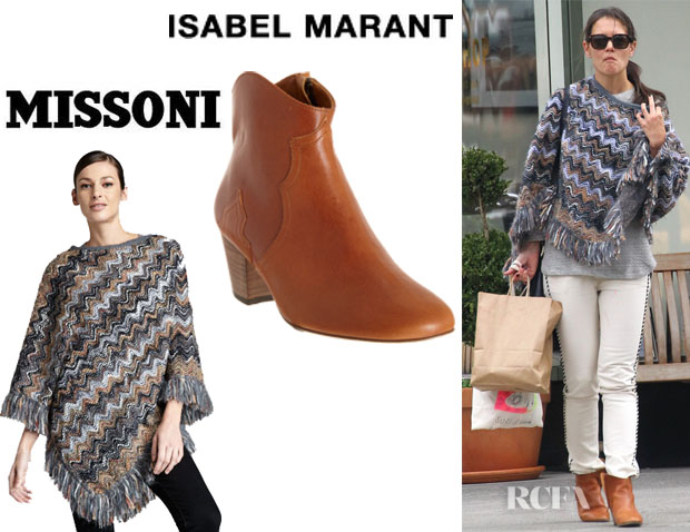 Katie Holmes' Missoni Heavy Yarn Zigzag Poncho And Isabel Marant Dicker Boots