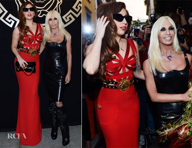 Lady Gaga In Vintage Versace - Palazzo Versace Private Dinner Party