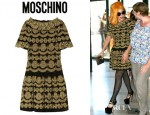 Lady Gaga's Moschino Metallic Ribbon Trimmed Crepe Dress