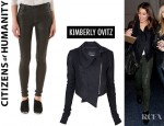 Lea Michele's Kimberly Ovitz Kona Jacket And Citizens of Humanity Rocket Leatherette Jeans