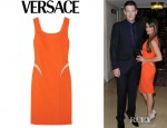 Lea Michele's Versace Paneled Crepe Dress