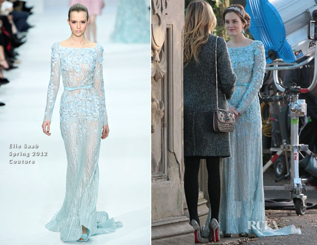 on the gossip girl set with leighton meester in elie saab
