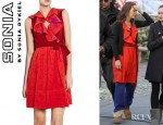 Leighton Meester's Sonia By Sonia Rykiel Ruffle V-Neck Star Print Dress