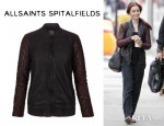 Lily Collins' All Saints Rixey Leather Bomber Jacket
