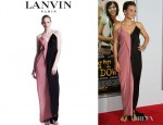 Maggie Gyllenhaal's Lanvin Colourblock Silk Gown