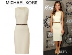 Maria Menounos' Michael Kors Belted Wool Crepe Dress