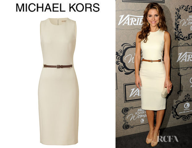 Who Maria Menounos Wearing A Michael Kors Belted Wool Crepe Dress