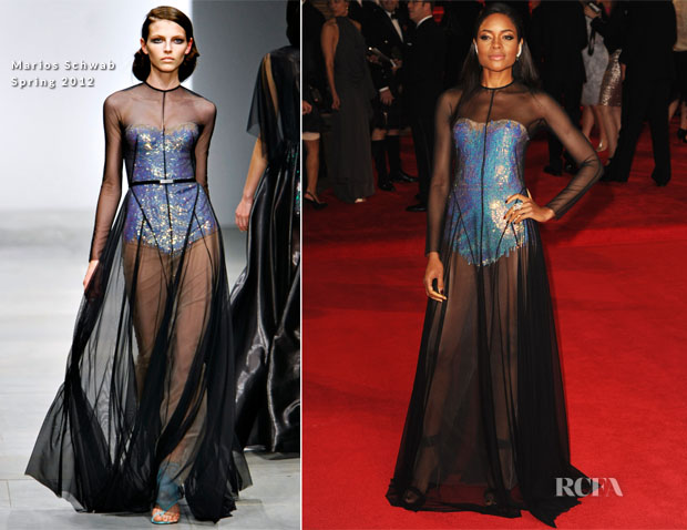 Naomie Harris In Marios Schwab - 'Skyfall' World Premiere