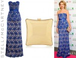 Natalia Vodianova's Stella McCartney Rebecca Lace Dress And Stella McCartney Satin Lined Perforated Box Clutch