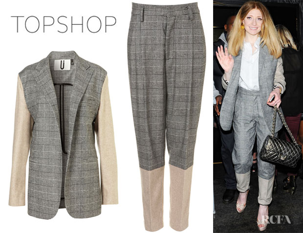 Nicola Roberts' Topshop Unique Dogtooth Blazer And Topshop Unique Dogtooth Trousers