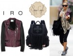 Nicole Richie's IRO Anabela Asymmetric Leather Biker Jacket And Simone Camille Skylar Backpack