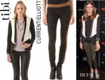 Olivia Palermo's Tibi Tuxedo Jacket And Current/Elliott Rider Legging Jeans