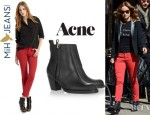 Olivia Wilde's MiH Paris Cropped Slim-Leg Jeans And Acne Pistol Leather Ankle Boots