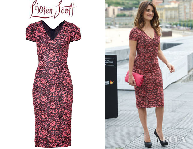 Penelope Cruz' LWren Scott Flower Lace Dress