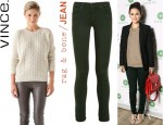 Rachel Bilson's Vince V Neck Sweater, Rag & Bone JEAN Skinny Mid Rise Jeans And House of Harlow 1960 Triangle Collar Necklace