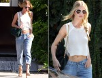 Rosie Huntington-Whiteley In Citizens of Humanity - Out In West Hollywood