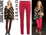 Rosie Huntington-Whiteley's Zadig & Voltaire Lilo Fur Jacket And J Brand Carin Slim-Fit Leather Pants