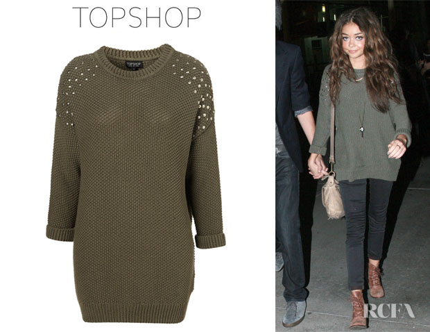Sarah Hyland's Topshop Knitted Stud Cotton Jumper
