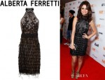 Selena Gomez' Alberta Ferretti Feather And Bead Embellished Mesh Dress