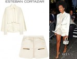 Solange Knowles' Esteban Cortazar Cape-Back Cady Jacket And Esteban Cortazar Mini Skirt