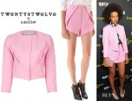 Solange Knowles' Twenty8Twelve Alexon Jacket, Twenty8Twelve Felicity Boucle Shorts, Nicholas Kirkwood Printed Slingbacks And Charlotte Olympia London 2012 Pandora Perspex Clutch