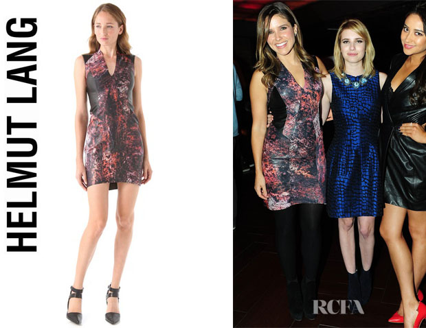 Sophia Bush's Helmut Lang Midnight Floral Leather Dress
