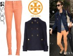 Stacy Keibler's Joe's Skinny Jeans And Tory Burch Bernadine Peacoat